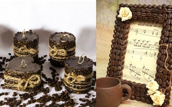Rama de tablou decorata cu boabe de cafea