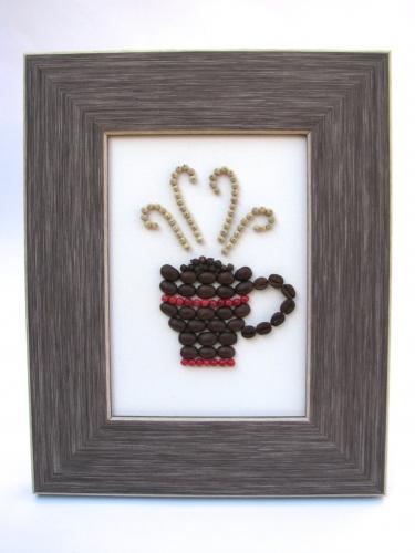 Tablou cu margele colorate si boabe de cafea