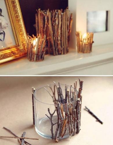 Candele rustice cu ramurele uscate de copac