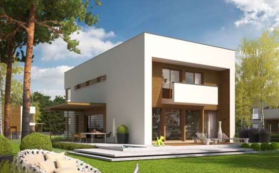 Casa cu etaj si acoperis tip terasa