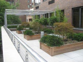 Gradina cu plante ornamentale amenajata pe terasa blocului