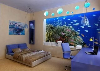 Dormitor cu acvariu pe perete