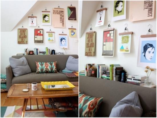 Idee decorare perete living cu postere colorate