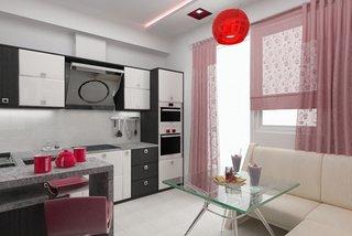 Perdele roz bucatarie