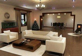 Living modern open space cu covoare albe