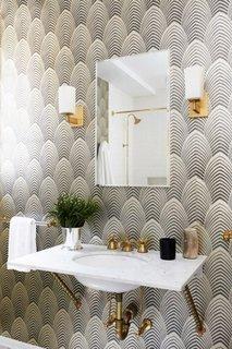 Tapet pentru baie cu motive geometrice
