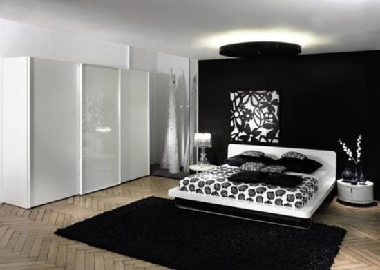 Dormitor decorat cu covor negru