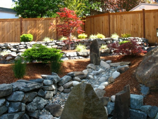 Amenajare exterioara cu piatra si plante verzi