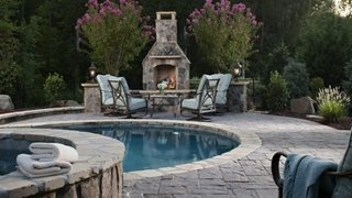 Terasa piscina placata cu piatra