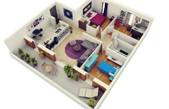 1. Plan aranjare apartament 3 dormitoare
