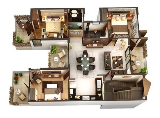 2 Schema 3 D mobilare apartament 3 dormitoare