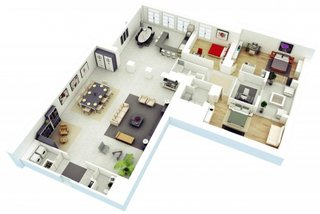 Apartament cu 4 camere in forma de L