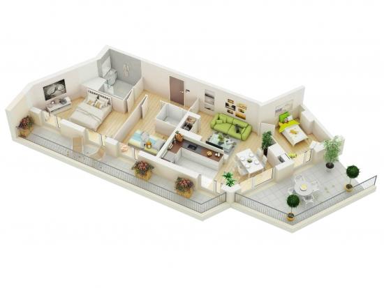 Apartament lung cu 3 dormitoare