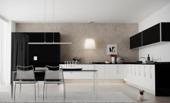 Bucatarie alb cu negru si mobilier in linii minimaliste