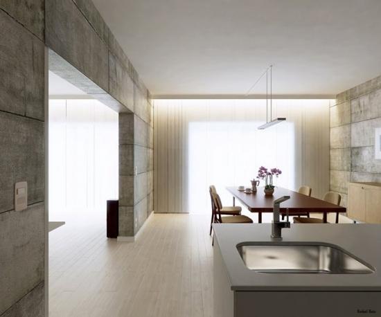 Bucatarie open space cu mobilier minimalist si pereti  din beton