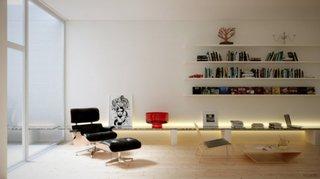 Living cu fotoliu minimalist recliner din piele neagra