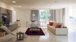 Living decorat in rosu alb si gri cu mobilier minimalist