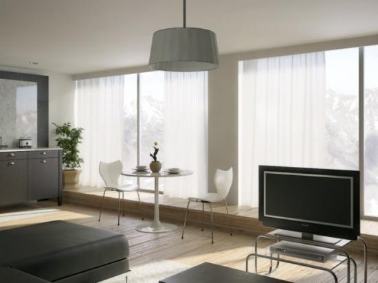 Living open space decorat monocrom decor minimalist