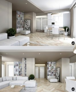 Parchet deschis la culoare cu pereti gri si mobilier alb