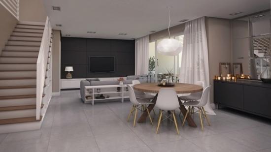 Parter de casa cu etaj decorat in stil minimalist