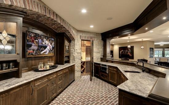 Wonderful Concrete Kitchen Countertops Dark Cabinets