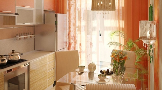Amenajare bucatarie cu portocaliu