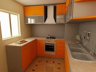 Bucatarie mica cu decor portocaliu