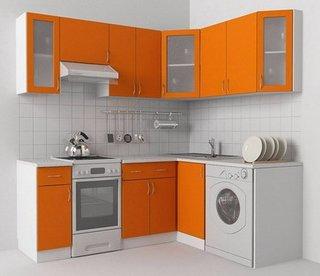 Mobila bucatarie mica cu orange si alb