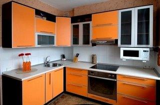Mobilier bucatarie negru portocaliu
