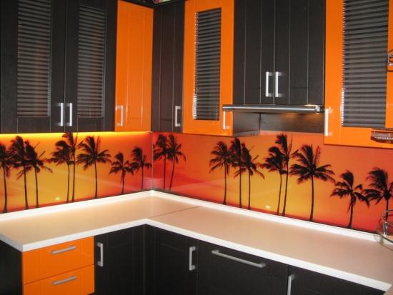Perete cu sticla serigrafiata cu palmieri pe decor portocaliu