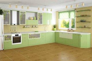 Mobilier bucatarie modern  culoare verde fistic