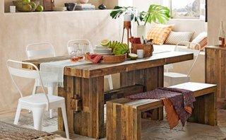 Dining in stil boho cu set de mobilier din lemn masiv brut rustic