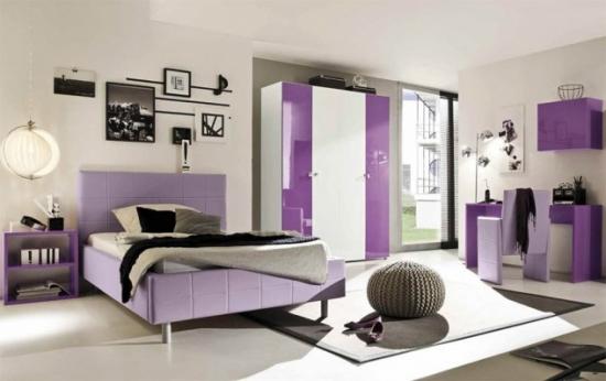 Dormitor alb mov fete