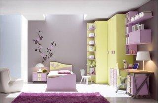Dormitor mov galben fete