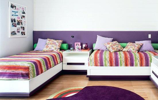 Idee asezare 2 paturi de 1 persoana intr-un dormitor