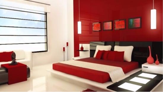 Dormitor modern rosu asezat conform regulilor Feng Shui