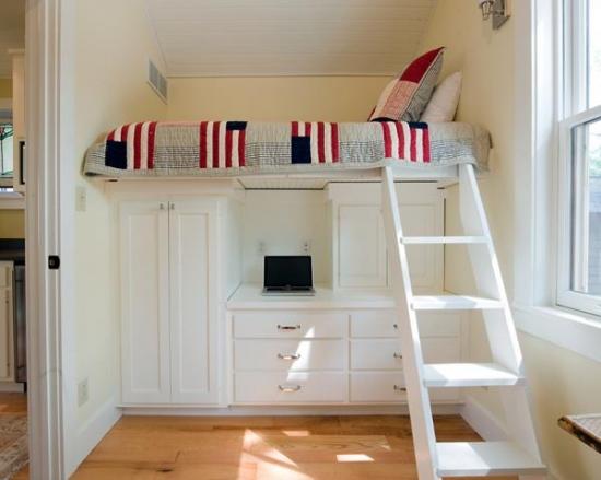 Mobila cu pat etajat pentru dormitoare mici