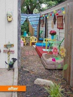 Curte laterala ingusta transformata in spatiu de joaca pentru copii