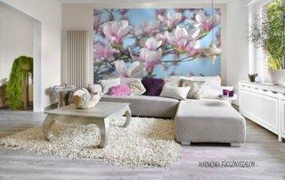 Living mic cu perete cu fototapet decorativ