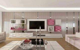 Living modern amenajat cu tapet grej si mobilier cu nuanta de roz