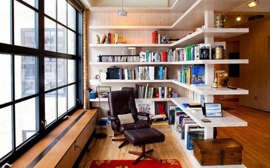 Sistem de etajere cu carti si fotoliu cu sistem recliner