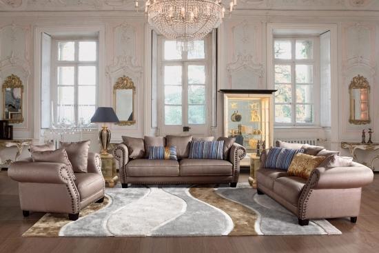 Living in stil baroc cu argintiu si bleu pastel