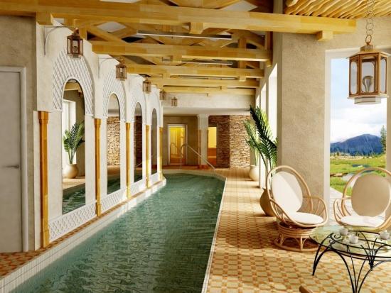 Terasa cu piscina acoperita in jurul casei