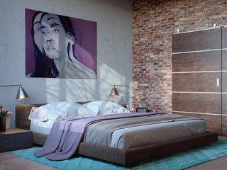 Dormitor matrimonial cu perete de caramida
