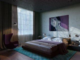 Dormitor matrimonial in nuante de violet si turcoaz