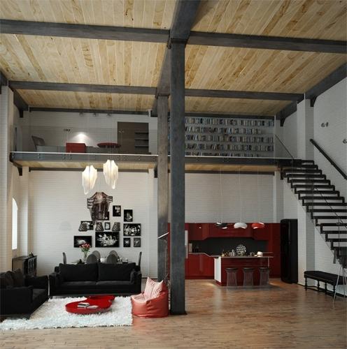 Dormitor si biblioteca pe un etaj partial