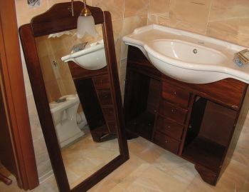 Mobilier baie oglinda cu dulap lemn demontate