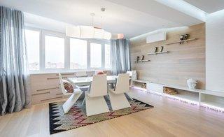 Dining cu masa si scaune albe model modern