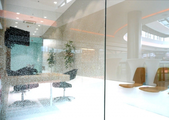 Pereti din sticla in zona de receptie in salon