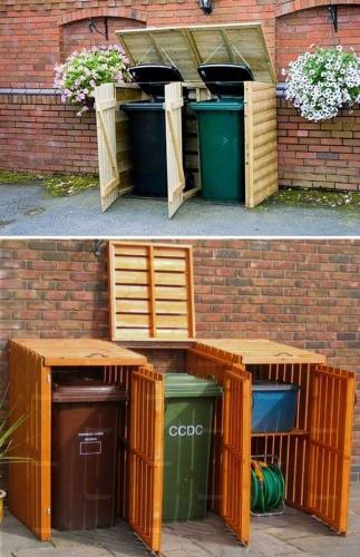Mascare cosuri de gunoi cu structuri din lemn